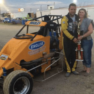 Andy Bradley celebrates a non wing victory.