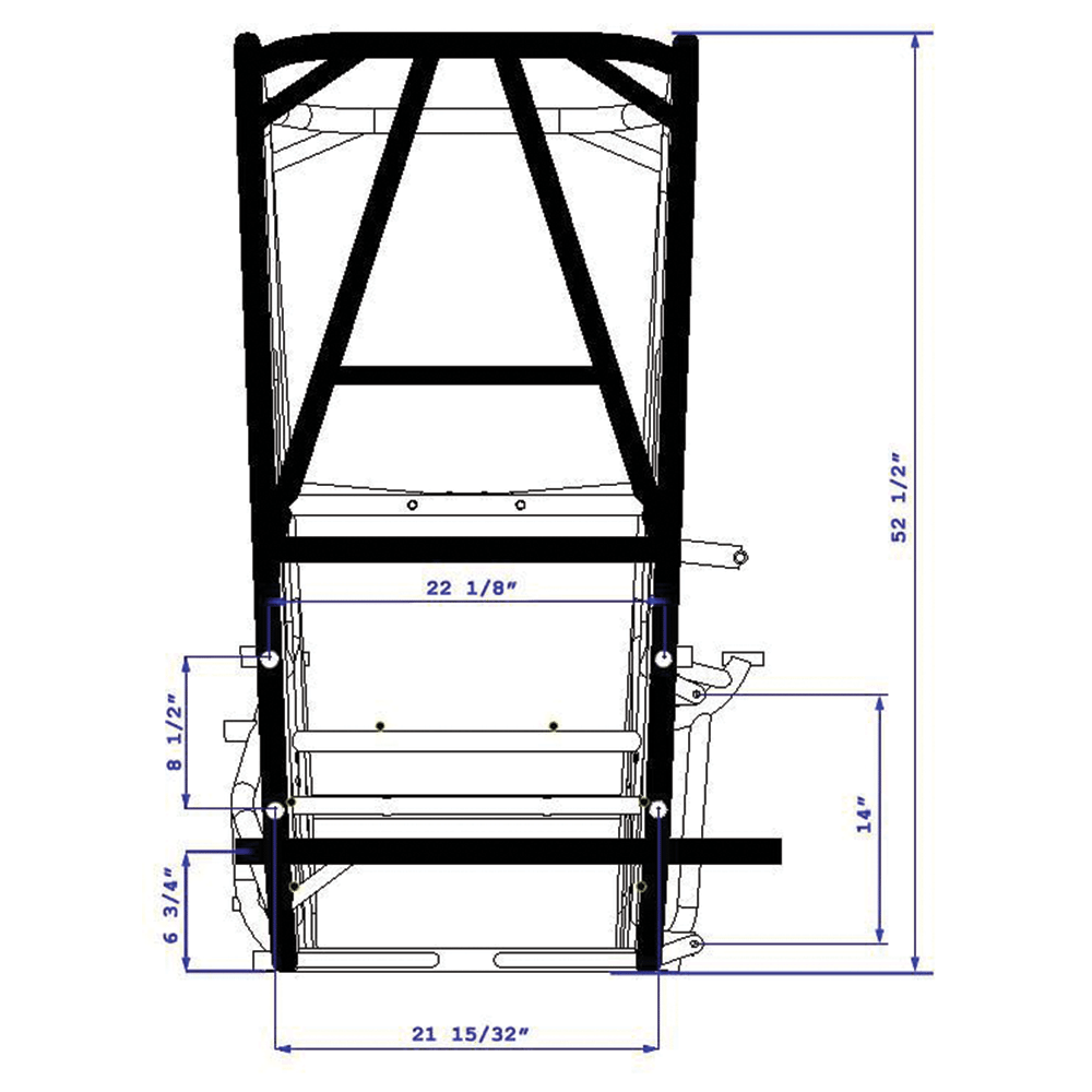 Hoosier speed chassis back view dimensions